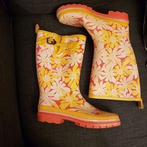 Nine West Yellow & Pink Daisy Rain Boots